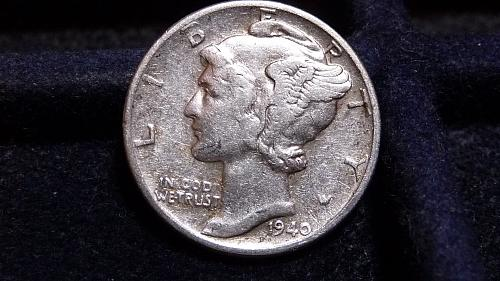 1940-P MERCURY SILVER DIME IN VERY FINE CONDITION  L-23-20