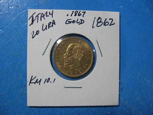 ITALY 20 LIRE GOLD 1862 .1867 OZ GOLD NICE ABOUT UNCIRCULATED KM 10.1