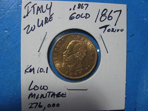 ITALY 20 LIRE GOLD 1867 .1867 OZ GOLD NICE ABOUT UNCIRCULATED LOW MINTAGE KM 10.