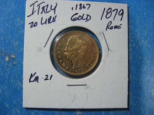 ITALY 20 LIRE GOLD 1879 .1867 OZ GOLD NICE ABOUT UNCIRCULATED  KM 21 SCARCE!!!