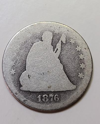 1876 Seated Liberty Quarter About Good-3