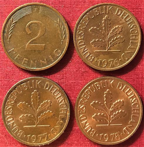 Germany 1975-1978 F (F - Stuttgart Mint) 2 Pfennig