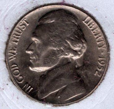 1952 p Jefferson Nickel #4a