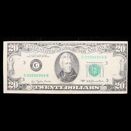 1977 $20 Green Seal Federal Reserve Note VERY LOW SERIAL NUMBER