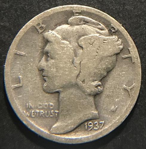 1937 Mercury Dimes Winged Liberty Silver Dime  V2P10R2