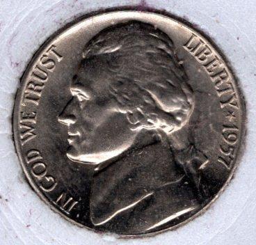 1957 p Jefferson Nickels -#4a