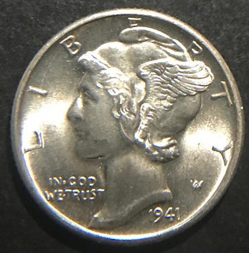 1941 D Mercury Dimes Winged Liberty Silver Dime  V2P10R3 4 Photo's