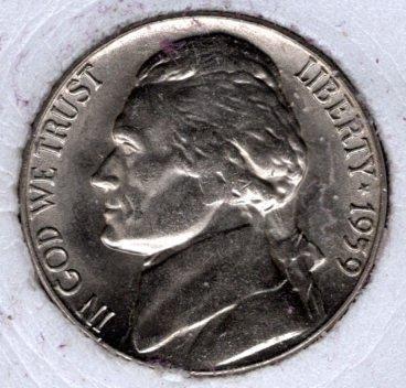 1959 P Jefferson Nickels -#4a