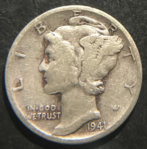 1941 Mercury Dimes Winged Liberty Silver Dime  V2P10R4