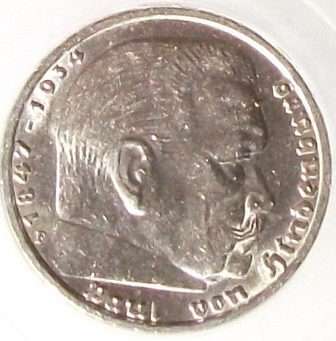 1939F Germany/Third Reich 5 Reichsmark PCI MS62