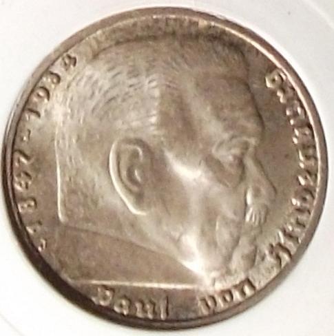 1936J Germany/Third Reich 5 Reichsmark PCI MS62