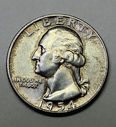 1954 Washington Quarter MS-64 (Near Gem) Pretty Hints of Obv Light Russet Tone!