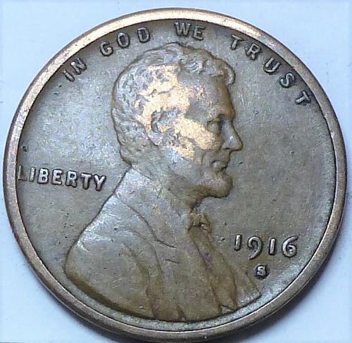 1916-S VERY FINE Lincoln Wheat Cent ( X-129 )