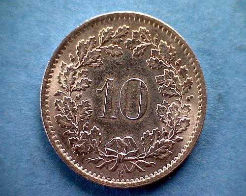 1965B  SWITZERLAND  TEN RAPPEN