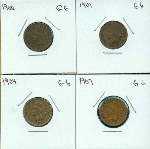 1900 - 1901 - 1904 - 1907  INDIANHEAD CENTS   VERY GOOD
