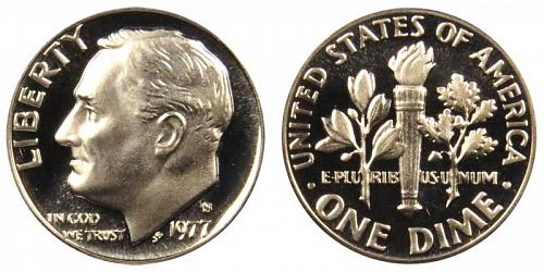 1977-S ROOSEVELT (STOCK PHOTO) CLAD DIME FROM PROOF SET  L-29-20