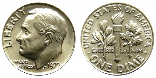 1979-P ROOSEVELT (STOCK PHOTO) CLAD DIME FROM MINT SET IN CELLO  L-29-20