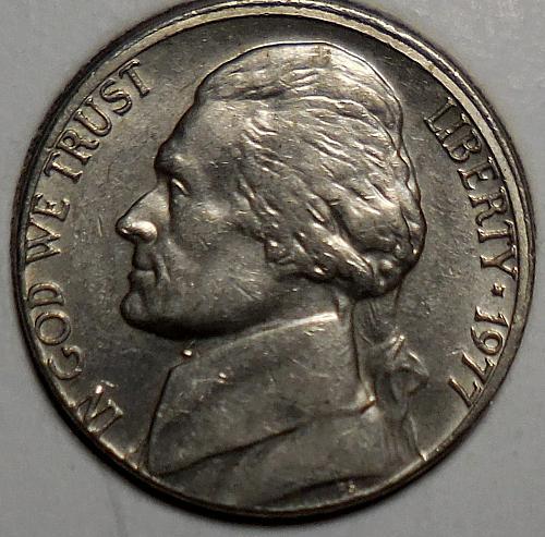 1977-P Jefferson Nickel Misaligned Die Error