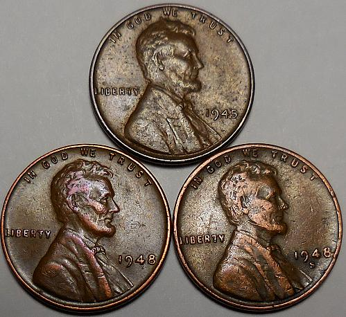 3 Lincoln Wheat Cents 1945-P 1948-P 1948-S