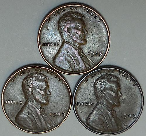 3 Lincoln Wheat Cents 1945 1948 1949