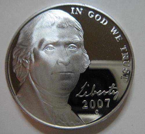 2007-S Jefferson Nickel Proof-65 (GEM) 2 Steps Near Full Steps SHARP STRIKE