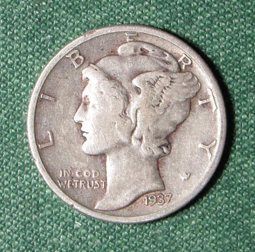 1937P Mercury Dime