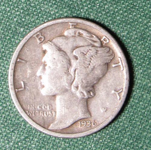 1936P Mercury Silver Dime
