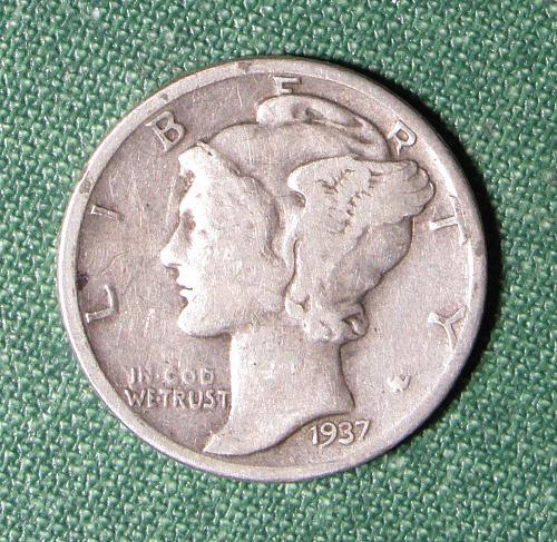 1937P Mercury Silver Dime