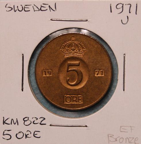 Sweden 1971U 5 ore