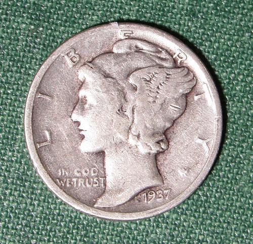 1937PMercury Silver Dime