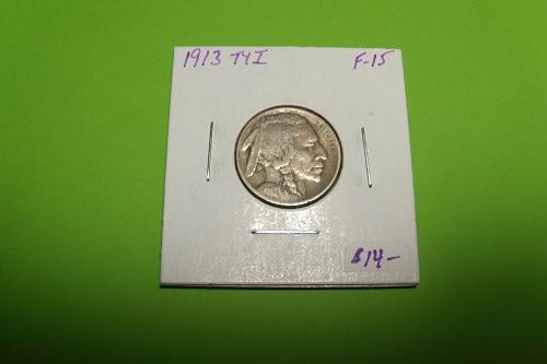 1913 TY1 Buffalo Nickel  F15  #5-1913T1-4