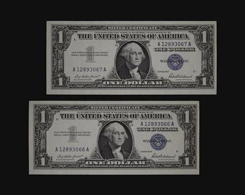 2-1957 Silver Certificate Blue Seal One Dollar Bills A-A block Crisp