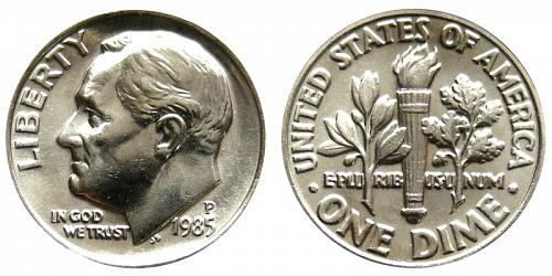 1985-P ROOSEVELT DIME FROM MINT SET IN CELLO (STOCK PHOTO) A-6-21