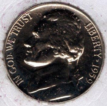 1959 P Jefferson Nickels -#5b