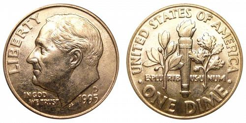 1995-D ROOSEVELT DIME (STOCK PHOTO) IN MINT CELLO CONDITION. A-8-21