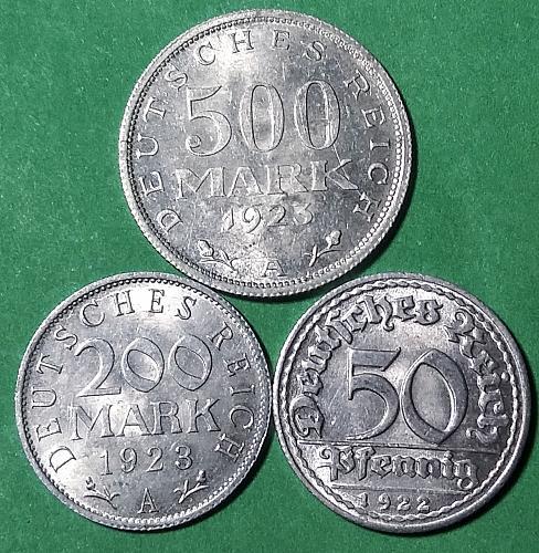 GERMAN COIN LOT 1923-A 500 AND 200 MARK PLUS 1922-D 50 PFENNIG ALUMINUM COINS