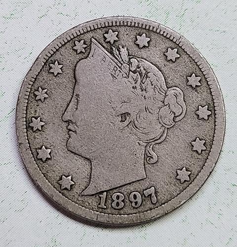 "1897 Liberty ""V"" Nickel Very Good-10 Gorgeous Original Dark Pearl Grey!"