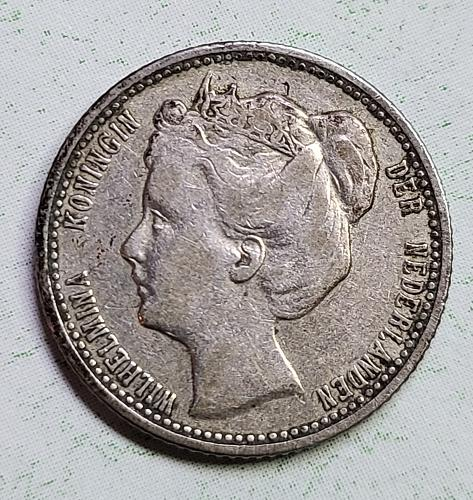 NETHERLANDS 25 Cents 1901 Small Neck Very Finei-30 K#120.2