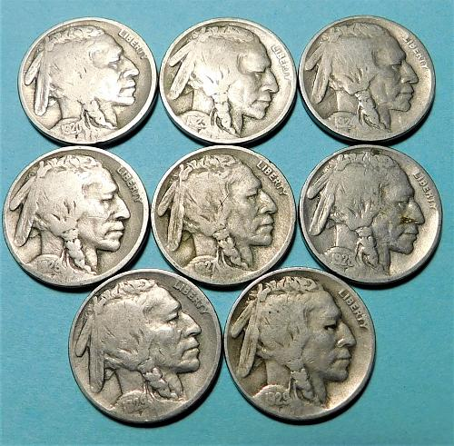 Lot of (8) Different Buffalo Nickels, from the 1920's