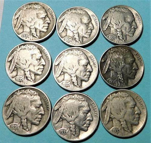 Lot of (9) Different Buffalo Nickels, from the 1930's