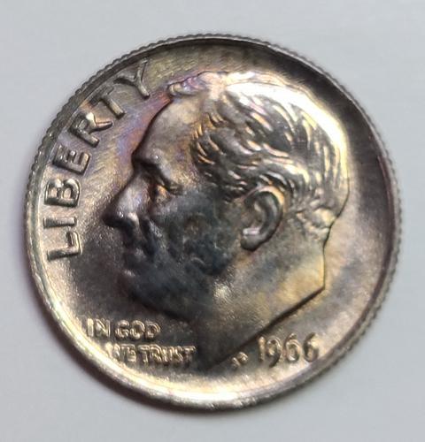 1966 (Business Strike) Roosevelt Dime MS-65 (GEM) Interesting Golden Clad Tone!