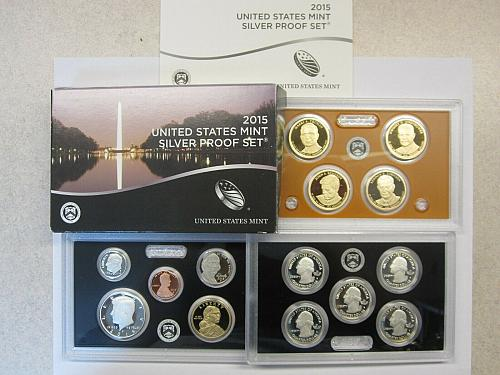 2015-S US Mint Silver Proof Set 14 Gem Coins W/Original Box and COA