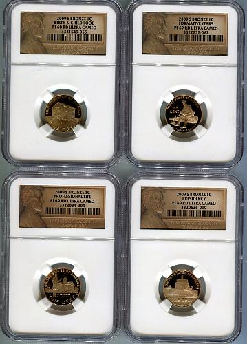 2009 - S  LIFE OF LINCOLN  4 Coin Set  NGC  PF69 RD UCAM