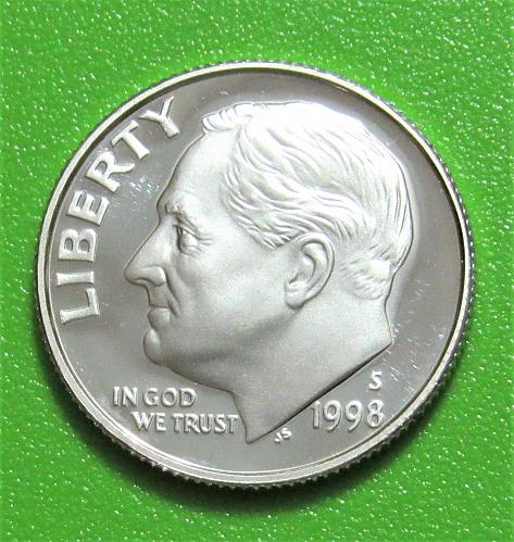 1998-S 10 Cents - Roosevelt Dime - SILVER - Cameo Proof