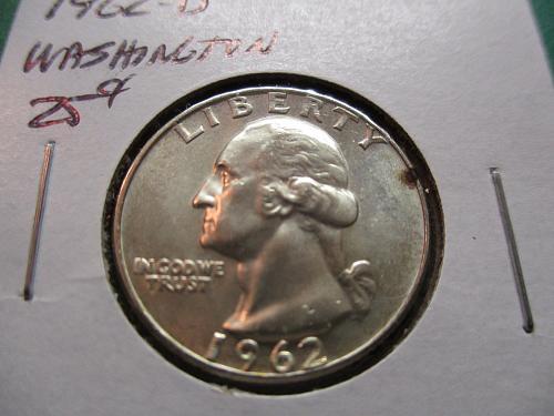 1962-D  MS63 Washington Quarter.  Item: 25 W62D-01.