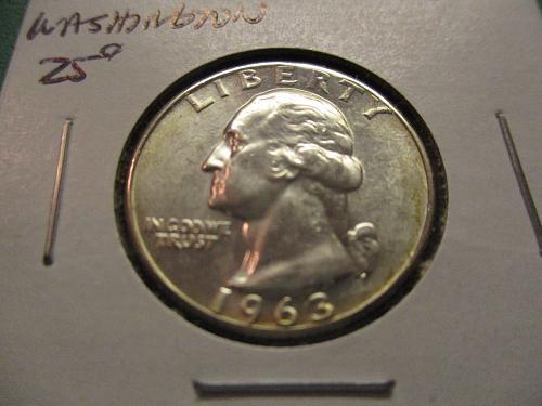 1963  MS63 Washington Quarter.  Item: 25 W63-01.