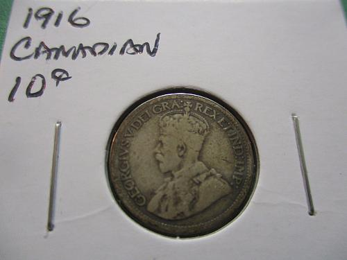 1916  AG3 Canadian 10 Cents.  Item: CAN10 16-01.