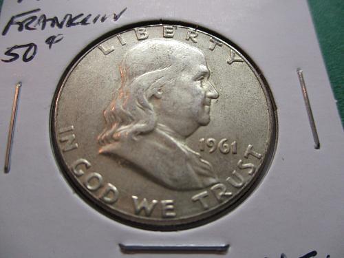 1961  XF40 Franklin Half Dollar.  Item: 50 F61-01.