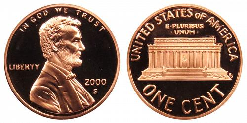 2000-S LINCOLN MEMORIAL CENT IN MINT CELLO  A-13-21