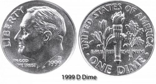 1999-D ROOSEVELT DIME (STOCK PHOTO) IN MINT CELLO  A-13-21